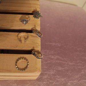 Silver Princess Tiara Gemstone 6 pc Ring Set